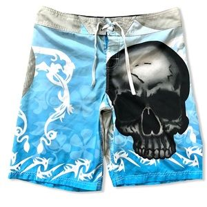 """KULY   Board Shorts with Skull Graphic 36"""" Waist"""